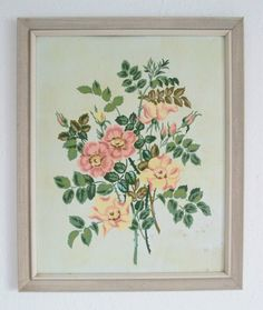 Shabby Vintage 1950's Flowers Mid Century Paint by Number PBN Framed Painting, $25.00