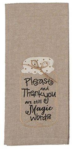 Kay Dee Designs Kitchen Embroidered Chambray Mason Jar Tea Towel, Please