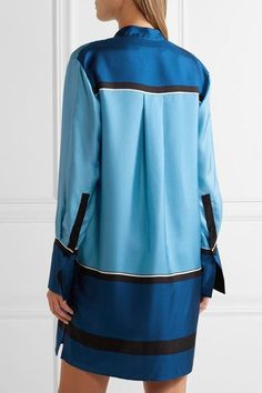 Diane von Furstenberg - Silk-twill Mini Shirt Dress - Blue - x small