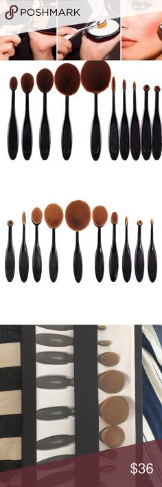 Oval brush 10 pc set! New in box 10 pc oval brush by beauty creations. Beauty creations Makeup Brushes & Tools