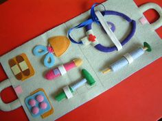 Blue felt medical bag for playing at home or with a younger child or sibling