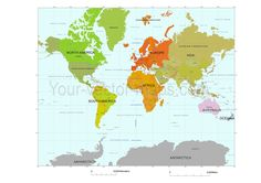 Unique world map center america continteslored map with mercator world map colored by continents original vector map gumiabroncs Image collections