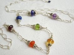 Rainbow Gemstone Necklace Hill Tribe Silver Seven by seemomster,