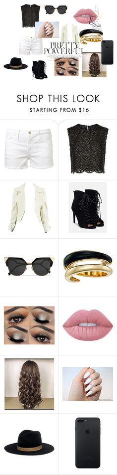 """""""Black and White"""" by artyblue06 ❤ liked on Polyvore featuring Frame, Costarellos, JustFab, Fendi, Michael Kors, Lime Crime, ASOS and Janessa Leone"""