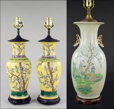 A Pair of Chinese Famille Jaune Porcelain Table Lamps. : Lot 1703027