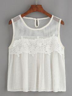 White Mesh Neck Crochet Applique Tank Top.