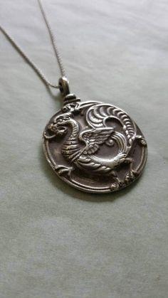 Protective Sterling Silver Fierce Dragon Talisman