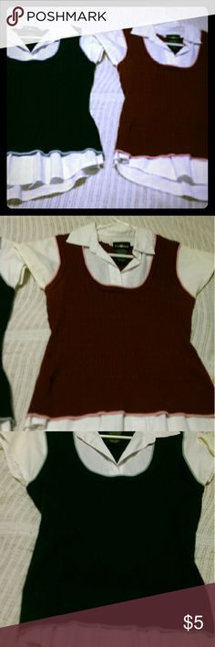 """""""Its Our Time"""" 2-shirt bundle, maroon and navy. Sweater type material """"vest"""" with built in white undershirt, with collar. In maroon and Navy. 2-shirt bundle, but would work something out to sell indiv.or bundle diff.items if asked to. It's Our Time Tops Blouses"""