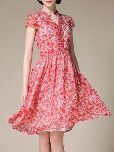 Chiffon Short Sleeve Casual V Neck A-line Midi Dress online. StyleWe.com