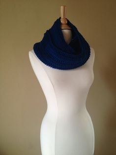 Soft, crochet infinity cowl/scarf in peacock blue