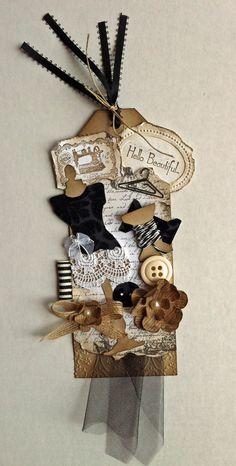 Hello Beautiful ... a vintage tag  (Tim Holtz sewing room die)