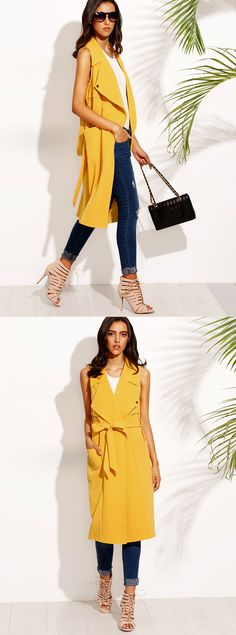 It is time to dominate your street!! #Yellow #Sleeveless ##Long #Outerwear
