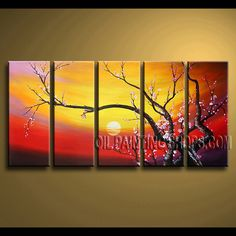 Enchanting Contemporary Wall Art Hand-Painted Art Paintings For Bath Room plum blossom. This 5 panels canvas wall art is hand painted by Bo Yi Art Studio, instock - $148. To see more, visit OilPaintingShops.com