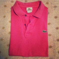 Vintage watermelon Lacoste polo Relaxed fit vintage lacroste polo. Color is a faded watermelon, great condition with no signs of wear! Size 4 fits as a medium or a loose small. Lacoste Tops