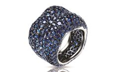 Emotion blue sapphire ring in 18-carat white gold with sapphires, £14,808, Fabergé