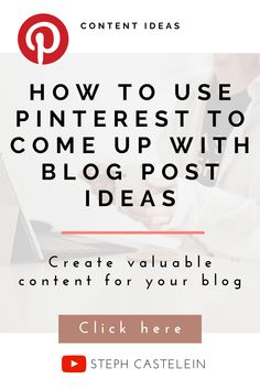 This video will show you how to use Pinterest to come up with content ideas for your blog! Pinterest is a great way to find out what your audience is searching for and write blog posts based on those results. Keep your content calendar full and stay consistent with your blog by following these blogging tips! Find out more here! Content Marketing Strategy, Marketing Ideas, How To Start A Blog, How To Find Out, Creating A Blog, Make Money Blogging, Searching, Calendar, Channel