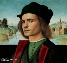 "Orlando Bloom.  Artists from creative website worth1000.com have tried ""to catch the moment"" and show us famous paintings but with modern celebrities in the main roles. Some of them look very natural in their new roles."
