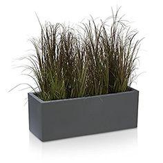 Pflanzkübel Blumentrog MURO Kunststoff Blumenkübel - Farbe: beton-grau matt - großer wetter- und winterfester Pflanztopf für Innen & Außen, robuster & UV-beständiger Pflanztrog