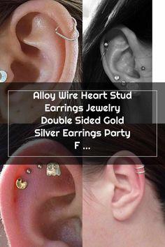 Double Cartilage Piercing Alloy wire heart stud earrings jewelry double sided gold silver earrings party friend Double Cartilage Piercing Double Cartilage Piercing, Ear Piercings, Piercings For Girls, Diamond Earrings, Stud Earrings, Fashion Earrings, Sterling Silver Earrings, Wire, Heart