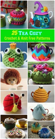 25 #Crochet #Knit Tea Cozy Free Patterns [Picture Instructions]: Crochet Teapot Cozy, Tea Pot Cosy Cover Free Patterns Round Up, Practical to Whimsical Teapot Cover Pattern