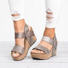 d9512719d02611 Retro Open Toe Ankle Wrap Platform Women Wedge Sandals with Plus Size