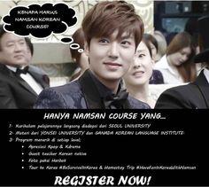 Kami membuka pendaftaran untuk kursus bahasa Korea murah di Jakarta. Kelas Reguler level ELEMENTARY 1. Pendaftaran khusus jadwal WEEKEND, setiap hari Sabtu pukul 14.00-17.00, mulai belajar tanggal 04 OKTOBER 2014! Cek http://namsankoreancourse.com/detail-harga-dan-jadwal-kelas-reguler-namsan-course/