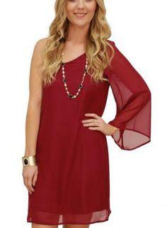 3e8ebf246f burgundy one shoulder dress  oxblood Fashion 101