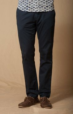 DRESS BLUE TROUSER POCKET STRECH CHINO     BOWIE- STRAIGHT FIT 14.5 INCH LEG OPENING