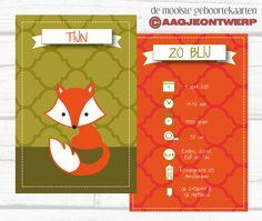 Retro geboortekaart vosje, oranje, olijf. Simpel, stoer. Birth announcement fox. Aagjeontwerp