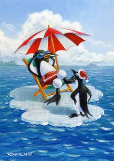 Happy Holiday by Richard De Wolfe ~ penguins ~ arctic ~ winter ~ Christmas
