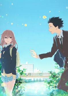 """A Silent Voice"" (Japanese: 聲の形 Hepburn: Koe no Katachi) is a 2016 Japanese anime school drama film produced by Kyoto Animation, directed by Naoko Yamada and written by Reiko Yoshida, featuring character designs by Futoshi Nishiya and music by. Manga Anime, Film Manga, Film Anime, Anime Art, Bon Film, Film D'animation, Drama Film, Movie Film, 31. Mai"