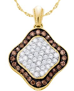 1.00CT Chocolate Brown/White Diamond 10K Yellow Gold Pendant