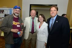 (L-R) George Barany, McNair Alumni Faculty Mentor, Bruce Schelske, Retired Director of TRiO Student Support Services, Karen Kaler, wife of University of Minnesota President Eric Kaler, and Anthony Albecker, McNair Scholars Director. Photo by Patrick O'Leary