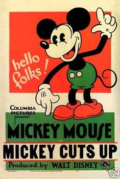 Poster from Miickey Cuts Up Mickey Mouse Y Amigos, Mickey Mouse And Friends, Disney Posters, Movie Posters, Type Posters, Columbia Pictures, Pigment Ink, Vintage Prints, Cartoon Network
