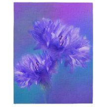 Late Summer Flower flora Blue Purple #Cornflower #Jigsaw #Puzzle