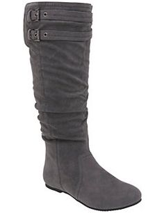 Faux suede boot features fashionable slouching and buckle accents for an effortless, wear-anywhere appeal. Side zipper for easy entry. Ultra comfy with a flat sole, wide width and wide calf.