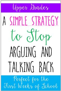 A Simple Strategy to Stop Arguing and Talking Back - Teaching with Jennifer Findley