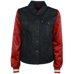 Levi's Women's San Francisco 49ers Denim Varsity Jacket ($158) ❤ liked on Polyvore featuring outerwear, jackets, red letterman jacket, varsity style jacket, letterman jackets, denim varsity jacket en college jackets