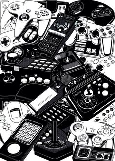 "rechirax: ""Retro Gaming: Joysticks & Controllers by Yves-José Malgorn a Freelance Graphic Designer. 22 famous retrogaming joystcks and controllers, from video game consoles : Atari Jaguar, Atari Retro Videos, Retro Video Games, Video Game Art, Retro Games, Classic Video Games, Main Manga, Arcade, Geek Art, Ukulele"