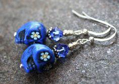 Sugar Skull Earrings Blue Skulls with Blue Flower by JensFancy, $15.00