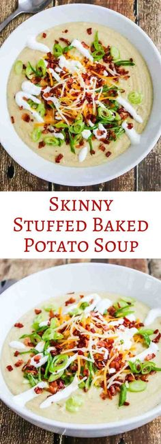 Skinny Stuffed Baked Potato Soup - this soup is so creamy and rich tasting that no one will know it's low carb and healthy