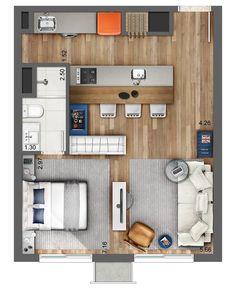 Smart - Artsy - Plantas de casas - The price reach of the Apartment wa Studio Apartment Floor Plans, Studio Apartment Layout, Apartment Plans, Apartment Design, Studio Apt, Layouts Casa, House Layouts, Small House Plans, House Floor Plans