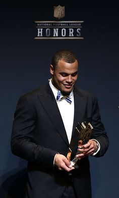 AP Offensive Rookie of the Year Dak Prescott during the NFL Honors media availability at the Wortham Center Saturday, Feb. 4, 2017, in Houston. ( James Nielsen / Houston Chronicle ) Photo: James Nielsen/Houston Chronicle