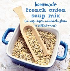 This DIY french onion soup mix replaces the store bough version with a simple recipe of onion flakes, garlic powder, onion powder, parsley, salt and pepper.