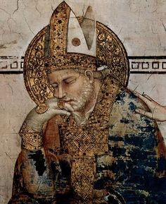 Simone Martini (1285 -1344) - Saint Martin in Meditation, detail - 1312. Fresco, 390 x 200 cm. Cappella di San Martino, Lower Church, San Francesco, Assisi. Pastiglia. Hale/Nimbus. 3-D relief plasterwork.