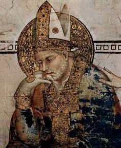 Simone Martini (1285 -1344) - Saint Martin in Meditation, detail - 1312. Fresco, 390 x 200 cm. Cappella di San Martino, Lower Church, San Francesco, Assisi. Pastiglia. Hale/Nimbus. 3-D relief plasterwork.
