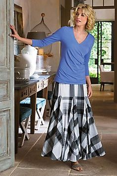 Plage de Plaid Skirt  Godets add romantic sweep and angled visual contrast to this soft cotton black-and-white plaid skirt, with an easy pull-on elastic waist and full lining.