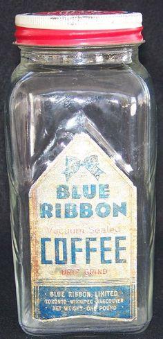 Blue Ribbon Coffee Jar with the Original Label - Canadian Coffee