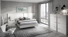 Dormitorios Doria. Composicón formada por cabezal modelo Mylas, con mesitas de noche Mylas. #bedroom, #dormitorio, #blanco