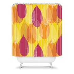 Aimee St Hill Big Leaves Yellow Shower Curtain